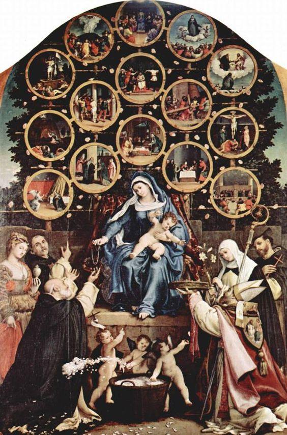 Lorenzo Lotto, Madone du Rosaire, en 1539, huile sur toile, 384x264cm, église san Niccolo, Cingoli (Italie). Jésus et sa mère donnent des chapelets (ou rosaire). Les mystères médités pendant le chapelet (ou rosaire) sont dessinés dans un arbre, arbre de vie, qui nous rappelle que cette prière est un chemin de maturation humaine et spirituelle.
