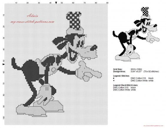 Disney Goofy vintage old black and white cross stitch pattern (click to view)