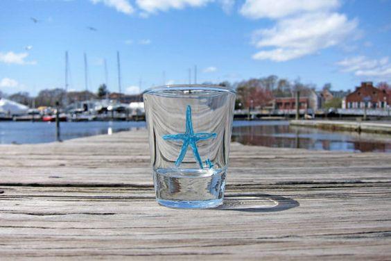 Nautical Shot Glass, Teal Starfish, Hand Painted Shot Glass, Nautical Man Cave, Stag Favor, Beach Decor, Beach Wedding Favor, Gifts Under 5
