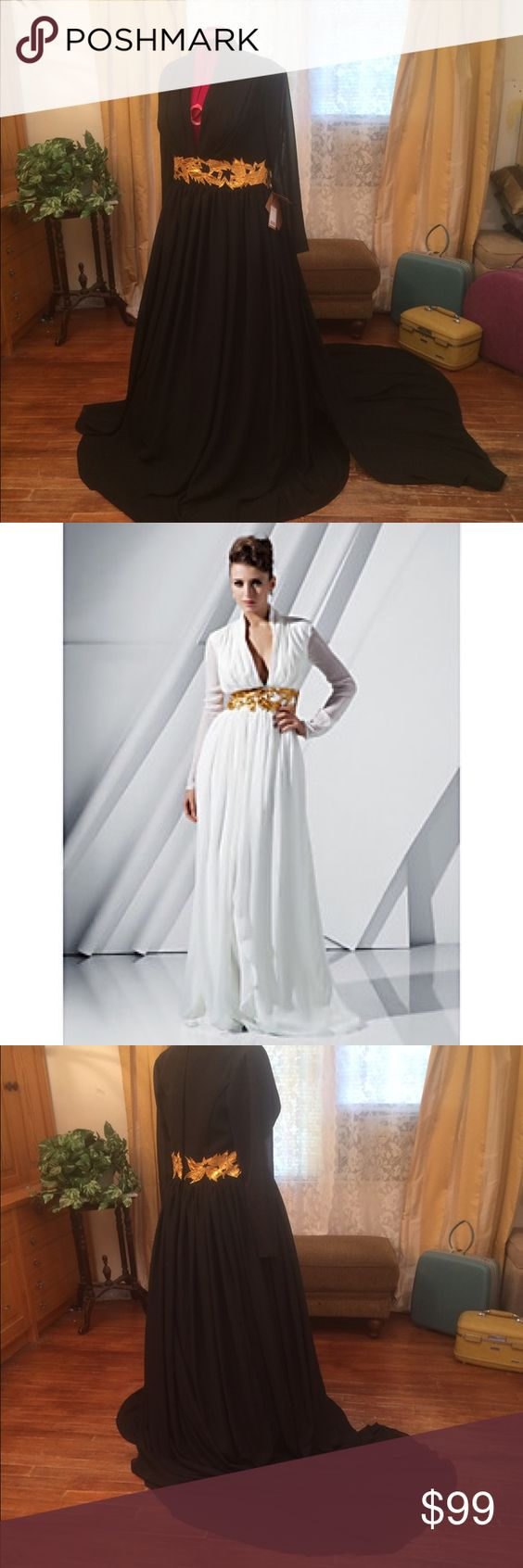 """NWT Grecian Formal Chiffon Dress train gold leaves NWT Unique long gothic formal- Grecian.  Gold leaves at the waist.  Long court flowing train in the back.  Chiffon with sheer leaves and omg-look at the deep V in front.  Very sexy.  Org $400 size 18W. Measurements:  Bust 45""""- Waist 38""""-Length 63""""-Price is firm-discounts available by bundling. Low ball offers don't show respect-result in blocks.  I don't model clothing. Message with questions. Non smoking home. -no returns. Thank you…"""
