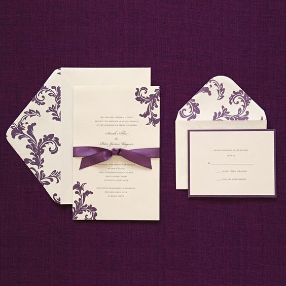 40 40 includes response cards purple ribbon print at for Gartnerstudios com invitation templates