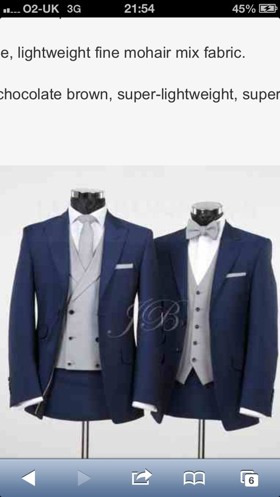 Navy grooms suit with grey waistcoat and tie! would be perfect as a tail coat