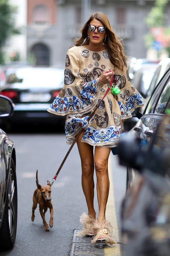 Anna - Ostrich Feather Beige Heels, Paisley Print Dress - Street Style - Fashion Week