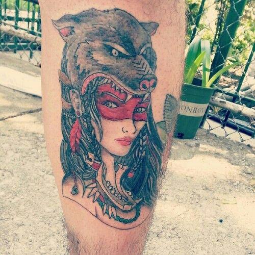 Wolf Woman Tattoo By Otheser Tattoo: Wolf Headdress Woman Warrior Tattoo