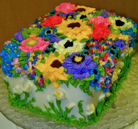 Rectangle Birthday Cakes With Flowers 2-layer rectangle cake with an ...