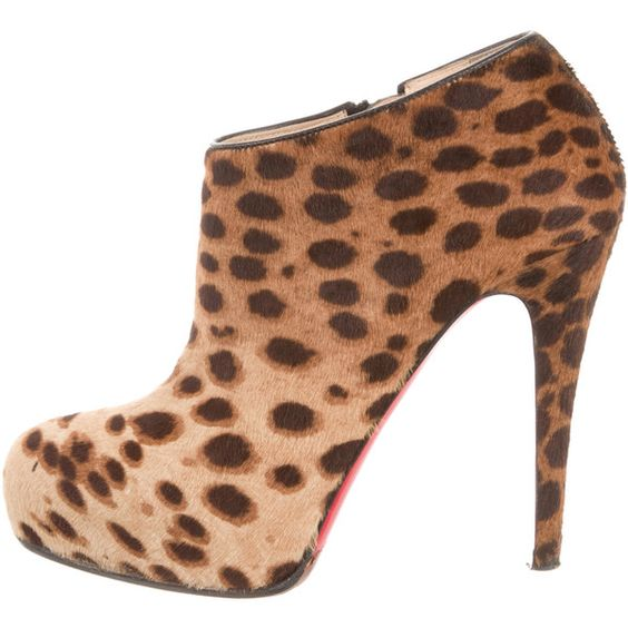 Pre-owned Christian Louboutin Ponyhair Platform Booties ($425) ❤ liked on Polyvore featuring shoes, boots, ankle booties, brown, tan booties, christian louboutin boots, christian louboutin booties, leopard platform booties and tan ankle booties
