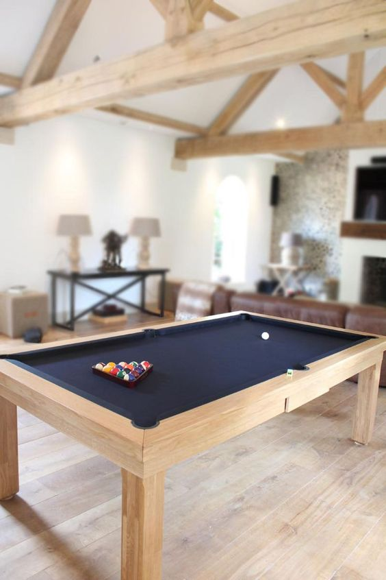 Best selling Custom Pool Table. 7' English Modern Pool table in Solid Oak with Black Cloth. http://luxury-pool-tables.co.uk