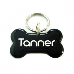 Black dog bone tag