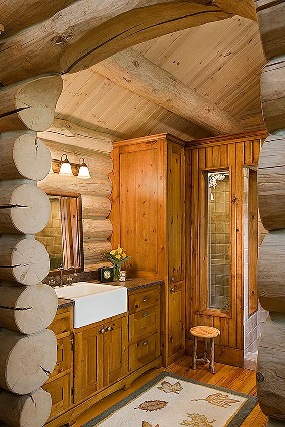 Knotty Pine Cabinets Knotty Pine And Cabin Bathrooms On
