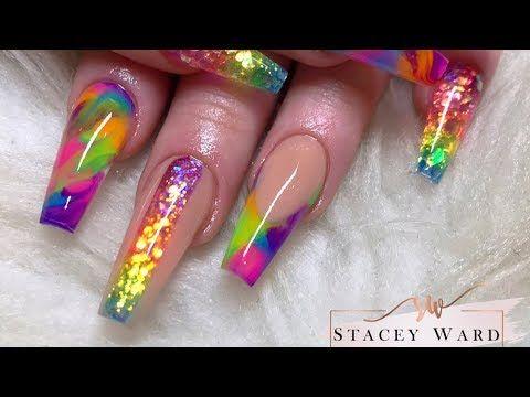 2990 Colour Block Rainbow Acrylic Nails Youtube Colored Acrylic Nails Rainbow Nails Coffin Nails Designs