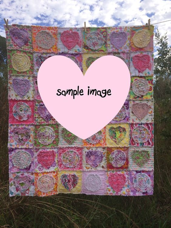 Shredded Rag Quilt Summer in the Park 43 x 50 by itssewsally, $124.00