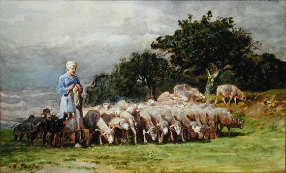 shepherdess photos | Painting Name: A Shepherdess with a Flock of Sheep