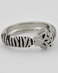 White Tiger Black and Silver Tiger Hinge Statement Bracelet-$27.75-Find hot fashion jewellery and statement jewlry at Strike Envy. #jewellery #jewlry