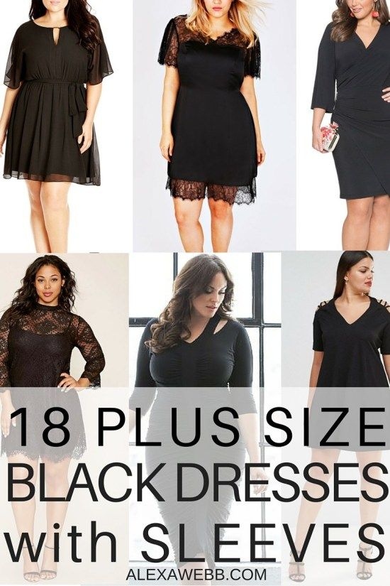27 Plus Size Wedding Guest Dresses With Sleeves Alexa Webb Plus Size Black Dresses Black Dress With Sleeves Black Dress
