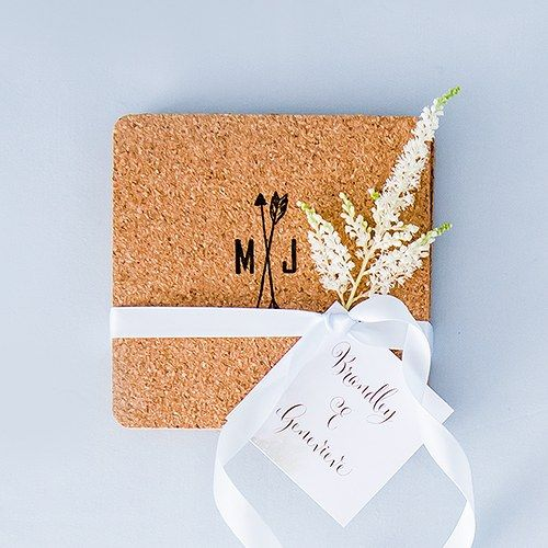 M X J - Couple Initials on Cork Coasters