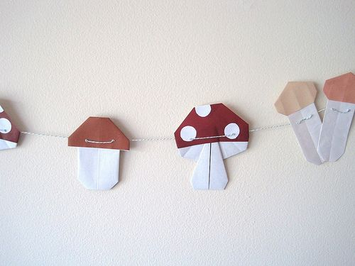 Origami mushrooms on a string