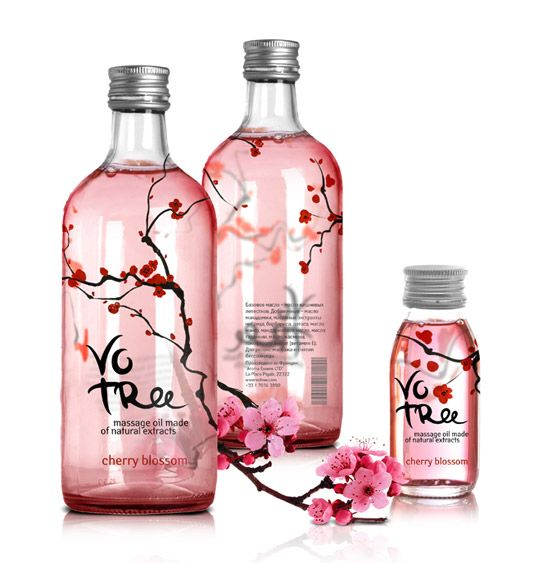 """The massage oil VoTree is made from natural extracts, and comes in a variety of 3 flavors: cherry, fig and chestnut. I painted watercolor plants which became the basis of the design.    In Russian the title 'votree' sounds like a call to action – 'rub'."""""""