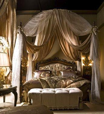 fancy schmancy canopy bed with settee #bedroom | Next ...