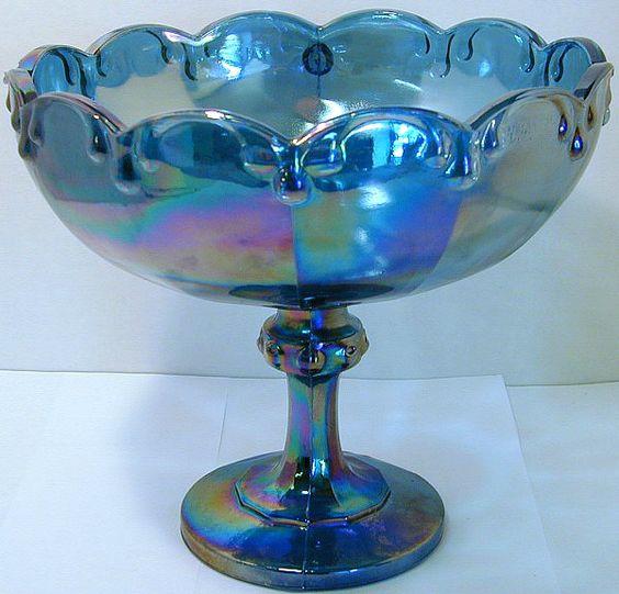 Vintage Blue Carnival Glass 85