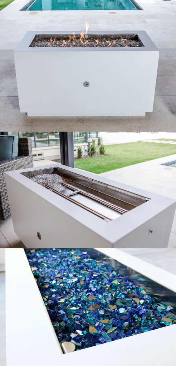 Rectangular Powder Coated Fire Pit In Pure White Finish Available
