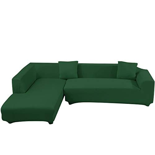 Beacon Pet L Shape Sofa Covers Sectional Sofa Cover 2pcs Polyester Fabric Stretch Slipcovers 2pcs Pillow Covers For L Shape Couch Dark Green Color Dark Green Couches L Shaped Sofa