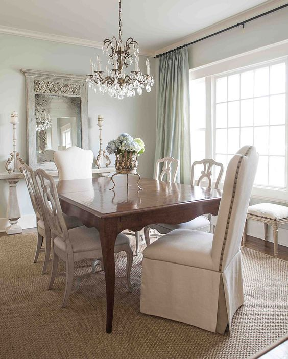 Gorgeous dining room!! I like the cream and blue colors goes with my dining set