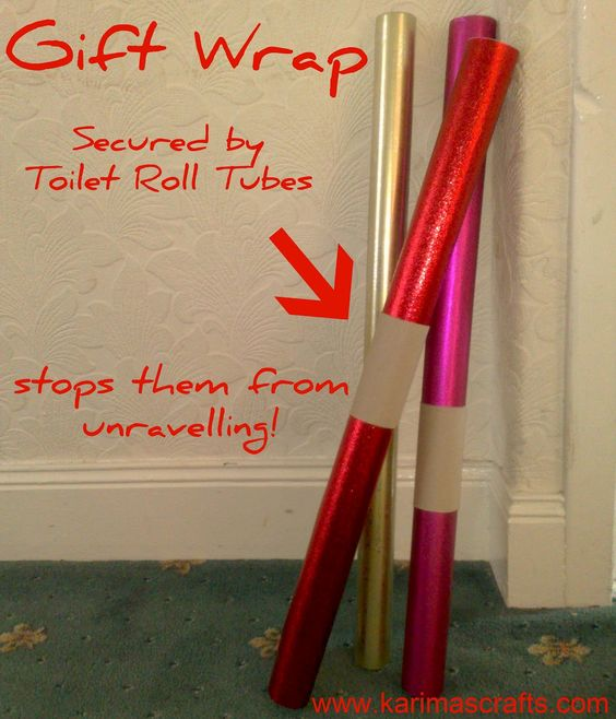 Use toilet roll tubes to keep gift wrap from unravelling. I feel stupid for not thinking of this.