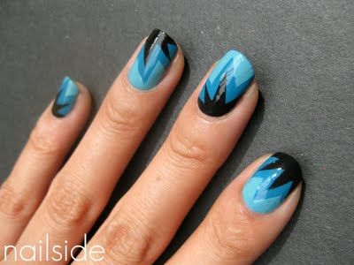 Tape art: Nailside Blue, Nailart, Nailpolish, Adorbs Nails, Beauty Nails, Blue Colors