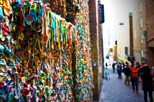 While Pike Place Market is a great place to shop, it's the Post Alley Gum Wall that sticks to your memory. Literally a wall covered in chewed gum.