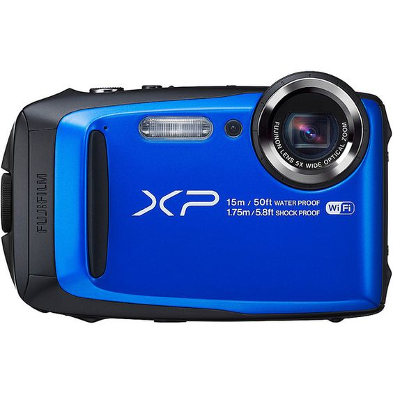 """Fujifilm Xp90 Waterproof Digital Camera With 3.0"""" Lcd ($230) ❤ liked on Polyvore featuring blue"""