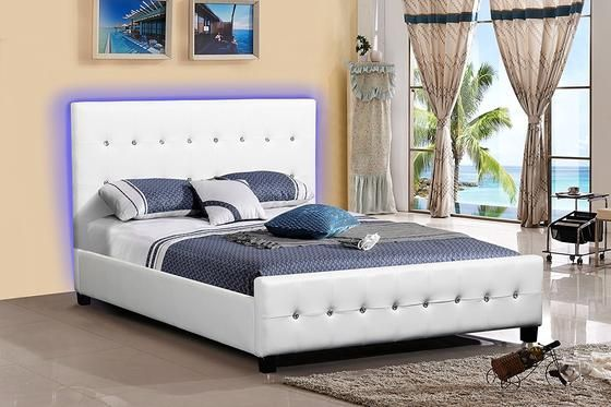 New Century White Leather Upholstered Headboard Platform Bed With Led Lights With Images Platform Bed Frame Upholstered Headboard