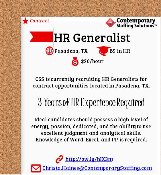 CSS is #hiring HR Generalists in Pasadena, TX l $20 hr l Email - how to email a resume