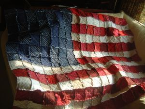 American flag rag quilt.
