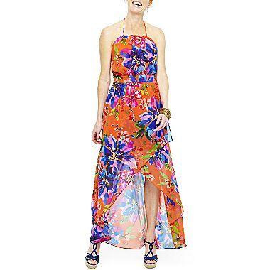Bisou Bisou® Floral-Print Halter Maxi Dress - jcpenney $20 ...