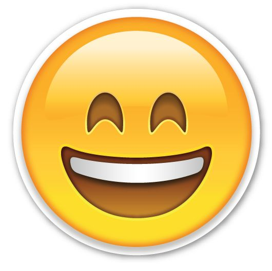 smiling face with open mouth and smiling eyes smiling