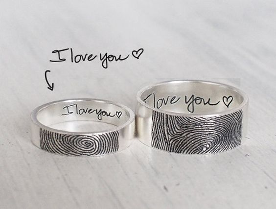 Set of 2 Personalized Fingerprint Rings - Actual Fingerprint and Handwriting Rings - Promise Rings FR02FM: