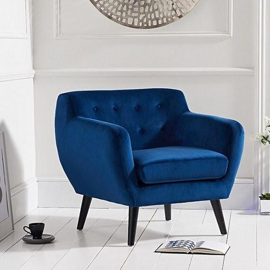 Alvey Modern Accent Chair In Blue Velvet With Dark Legs Blue