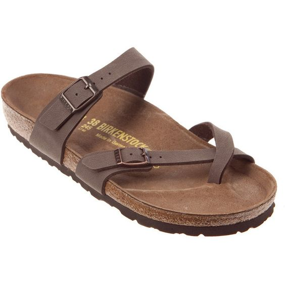 Birkenstock Women's Mayari Sandals ($91) ❤ liked on Polyvore featuring shoes, sandals, mocha birkibuc, traction shoes, holiday shoes, evening sandals, shock absorbing shoes and cocktail shoes