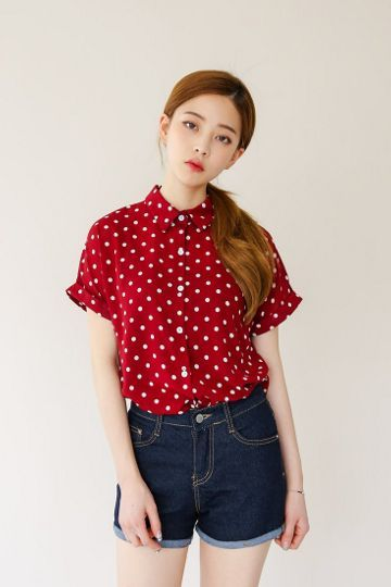 Dot Chiffon Blouse | Korean Fashion: