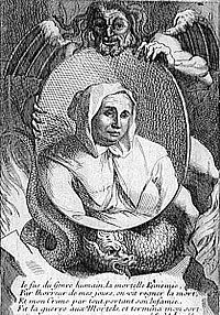 """Catherine Monvoisin, or Montvoisin, née Deshayes, known as """"La Voisin"""" (c. 1640 – February 22, 1680), was a French fortune teller, poisoner and an alleged sorceress, one of the chief personages in the affaire des poisons, during the reign of Louis XIV."""