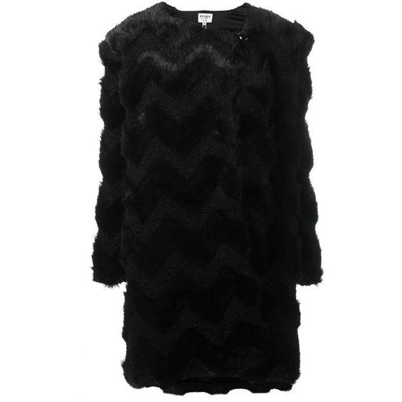 Armani Collezioni 'Eco Fur' coat ($760) ❤ liked on Polyvore featuring outerwear, coats, black, fur coat and armani collezioni