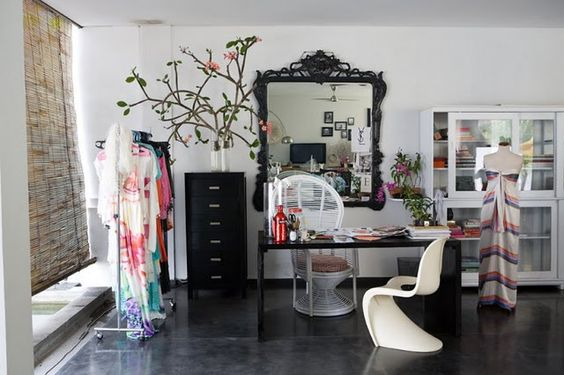 This reminds me so much of my room. I would LOVE my office space to look like this!