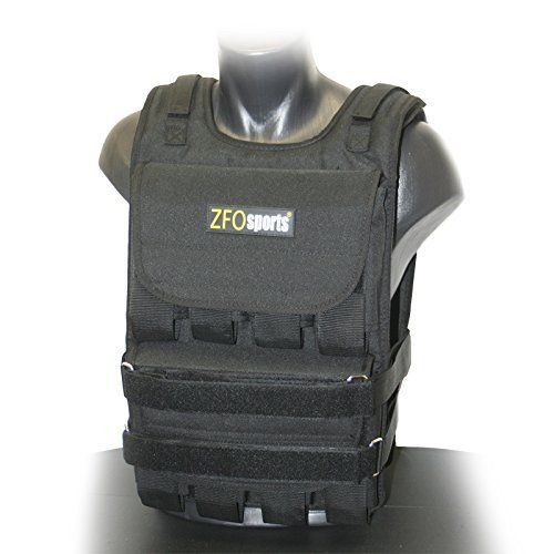 ZFOsports Adjustable Weighted Vest, 60 lb. 60-pounds included, 60-pounds max weight limit, all weights are removable. Great way to add resistance to your workout. One size fits most. Instructions included. Weight adjustable in 4-pound increments.