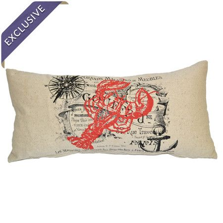 Cotton and linen pillow with a red lobster print and French nautical design.   Product: PillowConstruction Material: C...