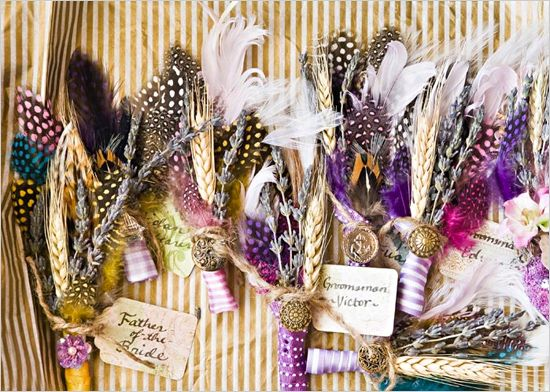 homemade feather boutonnieres