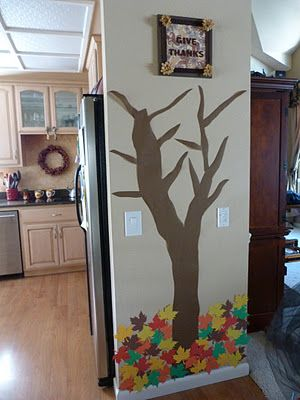 A thankful tree for the month of November-each day add a leaf with something written on it that your child is thankful for! LOVE this idea! Perfect for a family dining room :-)