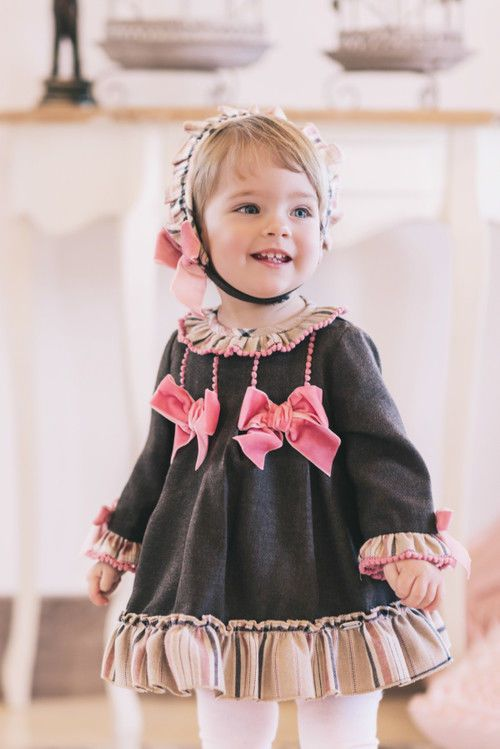 Baby Girls Spanish Romany Dress Set Baby Pink FLORAL  3 Piece  Bonnet 1M-24M