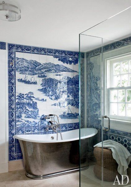 The Modern Blue and White Chinoiserie Bathroom