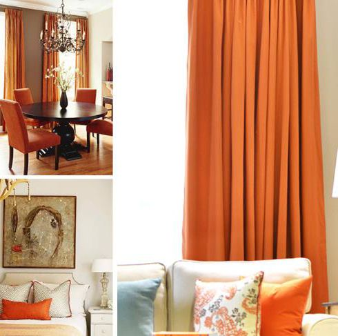 Pure Cotton Orange Terracotta Curtains Breathable Elegant Living Room Decor Orange And Grey Curtains Charcoal Living Rooms