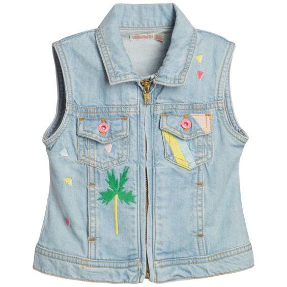 Girls Pale Blue Denim Jacket with Embroidery | Blue Denim, Denim ...